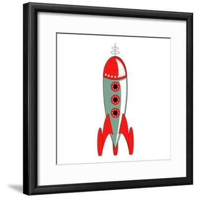 Vintage or Retro Fifties Sci Fi Style Rocket or Spaceship.-Clip Art-Framed Photographic Print