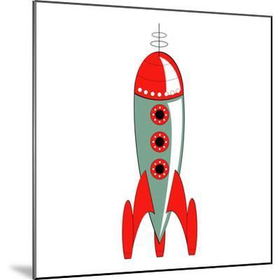 Vintage or Retro Fifties Sci Fi Style Rocket or Spaceship.-Clip Art-Mounted Photographic Print