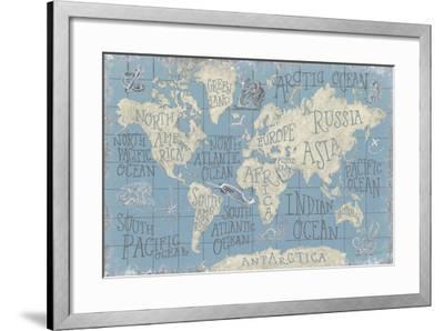 Mythical Map I Blue-Mary Urban-Framed Art Print