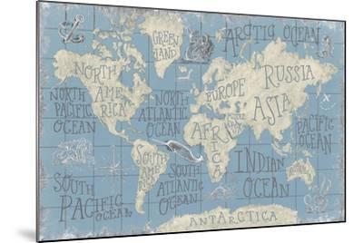 Mythical Map I Blue-Mary Urban-Mounted Art Print