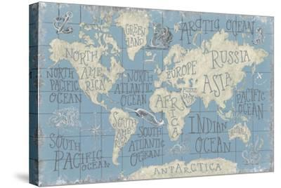 Mythical Map I Blue-Mary Urban-Stretched Canvas Print