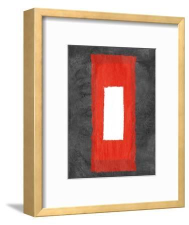 Grey and Red Abstract 4-NaxArt-Framed Art Print