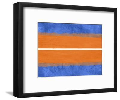 Blue and Orange Abstract Theme 4-NaxArt-Framed Art Print