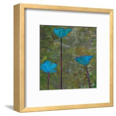 Teal Poppies II-Ricki Mountain-Framed Art Print
