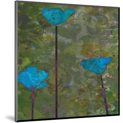 Teal Poppies II-Ricki Mountain-Mounted Art Print