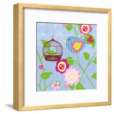 Striped Blue Bird-Sandra Smith-Framed Art Print