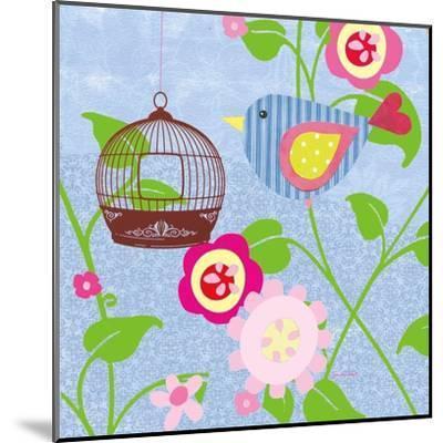 Striped Blue Bird-Sandra Smith-Mounted Art Print