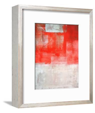 Beige And Coral Abstract Art Painting-T30Gallery-Framed Art Print