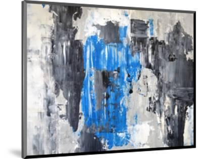 Blue And Grey Abstract Art Painting-T30Gallery-Mounted Art Print