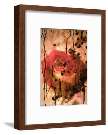Red Rose Through Paper with Ink Drawing-Daniel Root-Framed Giclee Print