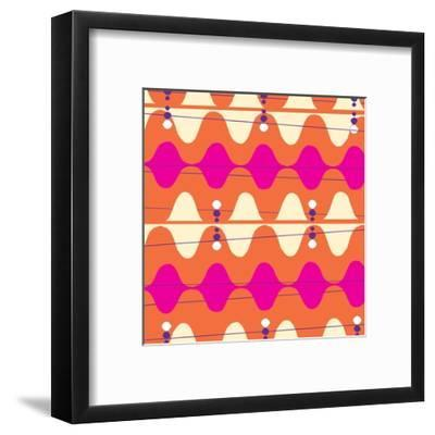 Retro Wave Pattern Orange--Framed Giclee Print