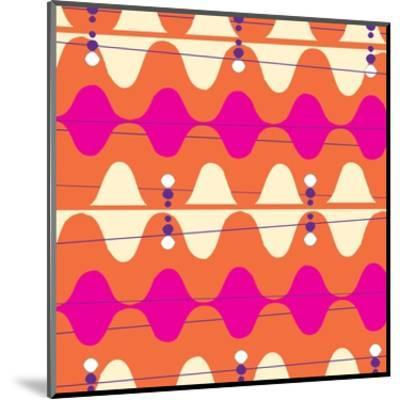 Retro Wave Pattern Orange--Mounted Giclee Print