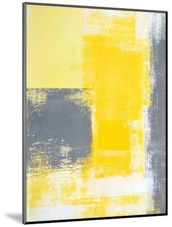Grey And Yellow Abstract Art Painting-T30Gallery-Mounted Premium Giclee Print
