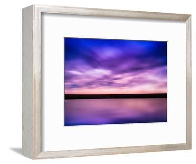 Horizontal Vivid Pink Purple River Sunset with Reflection Horizo-Nickolay Loginov-Framed Photographic Print