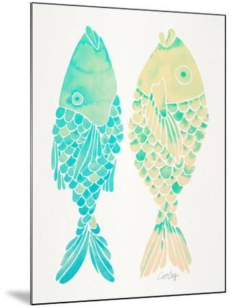 Turquoise Cream Indonesian Fish-Cat Coquillette-Mounted Giclee Print