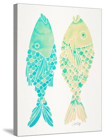 Turquoise Cream Indonesian Fish-Cat Coquillette-Stretched Canvas Print