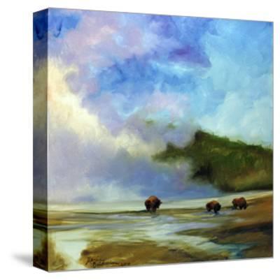 Yellowstone Buffalo Landscape-Marcia Baldwin-Stretched Canvas Print