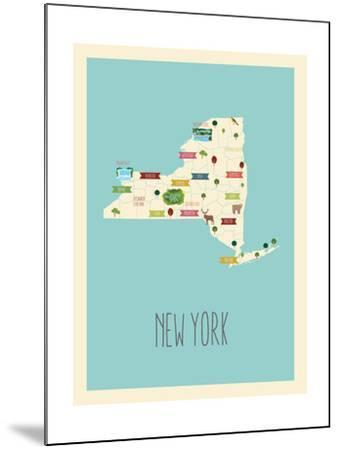 New Your Blue Map-Kindred Sol Collective-Mounted Art Print