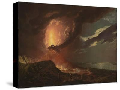 Vesuvius in Eruption, with a View over the Islands in the Bay of Naples-Joseph Wright of Derby-Stretched Canvas Print