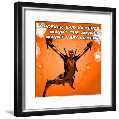 Deadpool - Violence Square--Framed Art Print
