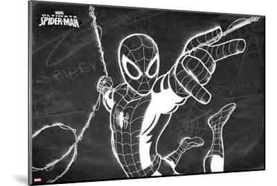 Ultimate Spider-Man Chalkboard--Mounted Art Print