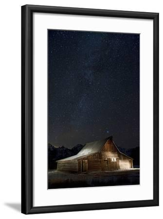 Light Painting of Old Barn on Mormon Row under a Star-Filled Sky-Bob Smith-Framed Photographic Print