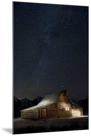Light Painting of Old Barn on Mormon Row under a Star-Filled Sky-Bob Smith-Mounted Photographic Print