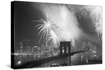 Fireworks over the Brooklyn Bridge-Bettmann-Stretched Canvas Print
