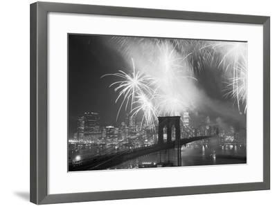 Fireworks over the Brooklyn Bridge-Bettmann-Framed Photographic Print