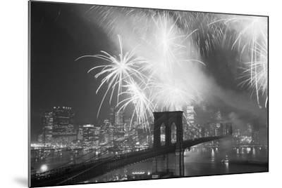 Fireworks over the Brooklyn Bridge-Bettmann-Mounted Photographic Print