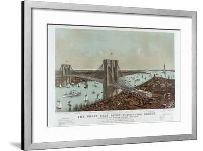 Grand Birds Eye View of the Great East River Suspension Bridge by Currier & Ives-Fine Art-Framed Photographic Print