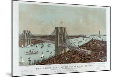 Grand Birds Eye View of the Great East River Suspension Bridge by Currier & Ives-Fine Art-Mounted Photographic Print
