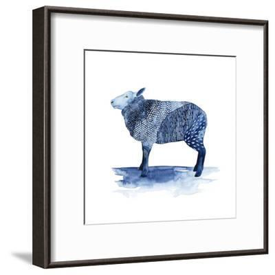 Cobalt Farm Animals III-Grace Popp-Framed Art Print