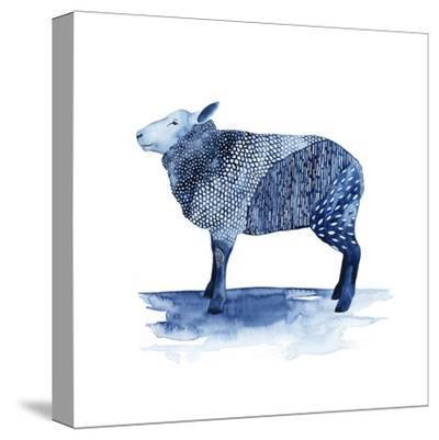 Cobalt Farm Animals III-Grace Popp-Stretched Canvas Print