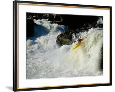 High angle view of a person kayaking in rapid water--Framed Photographic Print