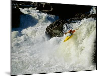 High angle view of a person kayaking in rapid water--Mounted Photographic Print