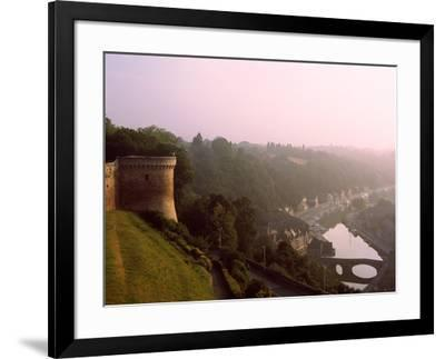 Elevated view of medieval houses in Dinan, Ille-et-Vilaine, Brittany, France--Framed Photographic Print