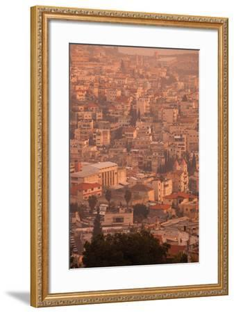 High angle view of a city, Nazareth, Galillee, Israel--Framed Photographic Print
