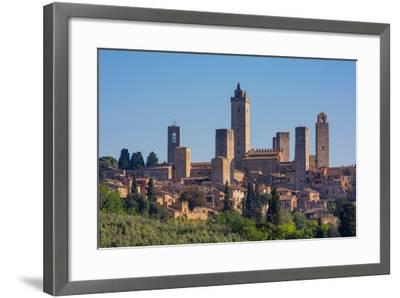 San Gimignano, Siena Province, Tuscany, Italy. The famous towers of the medieval town. The histo...--Framed Photographic Print