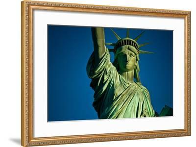 Statue of Liberty against blue sky, New York City, New York State, USA--Framed Photographic Print
