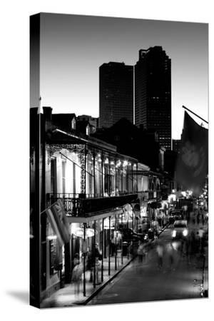 Tourists walking in the street, Bourbon Street, French Quarter, New Orleans, Louisiana, USA--Stretched Canvas Print