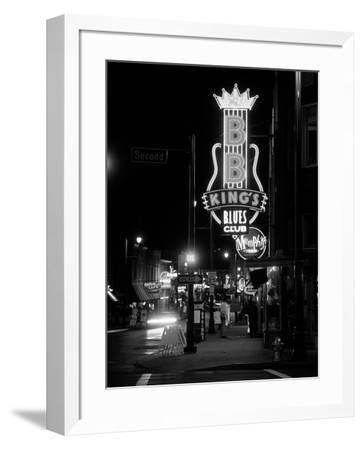 Neon sign lit up at night, B. B. King's Blues Club, Memphis, Shelby County, Tennessee, USA--Framed Photographic Print