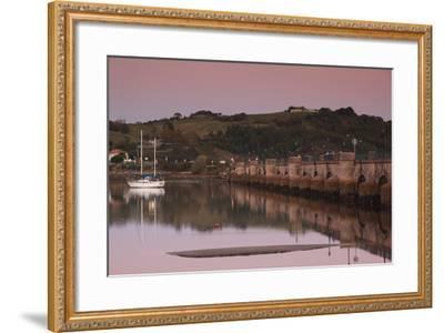 Puente de la Maza bridge at dusk, San Vicente de la Barquera, Cantabria Province, Spain--Framed Photographic Print
