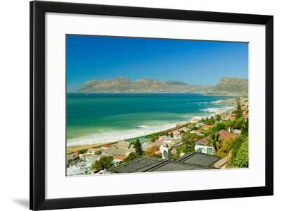 Elevated view of False Bay and Indian Ocean, overlooking St. James and Fish Hoek, outside of Cap...--Framed Photographic Print