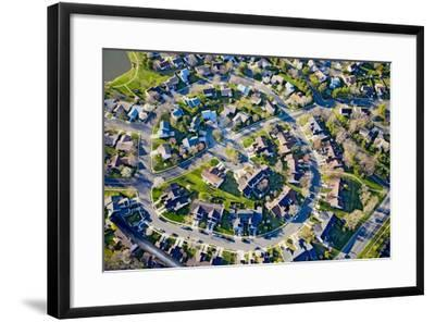 Aerial pattern of residential homes in circle outside of Philadelphia Pennsylvania, New Jersey--Framed Photographic Print