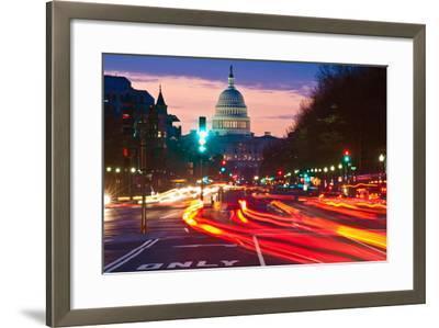 US Capitol Building at dusk, Pennsylvania Avenue, Washington DC, USA--Framed Photographic Print