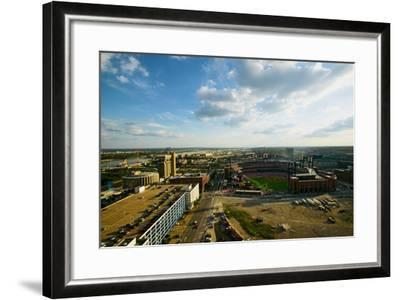 An elevated view of the third Busch Stadium and St. Louis, Missouri, where the Pittsburgh Pirate...--Framed Photographic Print