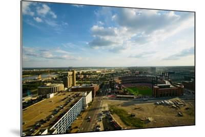 An elevated view of the third Busch Stadium and St. Louis, Missouri, where the Pittsburgh Pirate...--Mounted Photographic Print