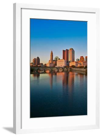 Scioto River and Columbus Ohio skyline in autumn with sunset reflection in water--Framed Photographic Print