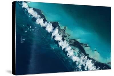Satellite view of Turks and Caicos Islands--Stretched Canvas Print
